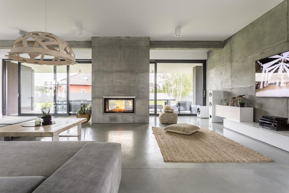 beton coule decoratif salon